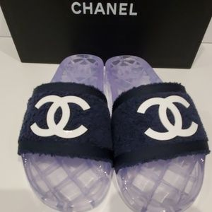 CHANEL Shoes - Chanel Navy Pool Party 19s Slides